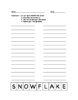 Winter Vocabulary: Word Work Activity