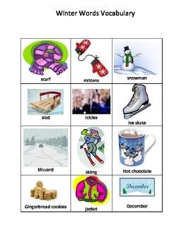 Winter Vocabulary Words
