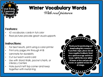 Winter Vocabulary Words With Real Pictures
