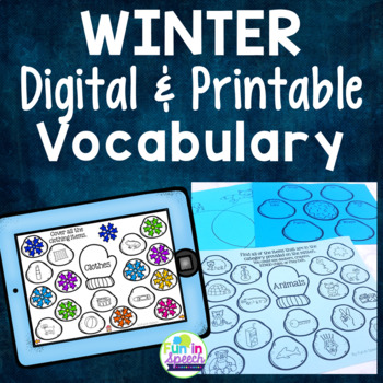 Winter Vocabulary Worksheets - Print and Go Speech Therapy Activities