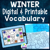 Winter Vocabulary Worksheets with Print and Go Speech Therapy Activities