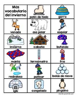 Winter Vocabulary & Writing Center in Spanish (Vocabulario del invierno)