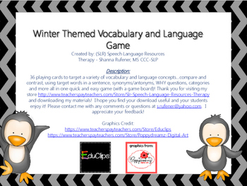 Winter Vocabulary and Language Game
