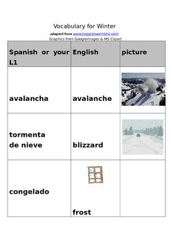 Winter Vocabulary words, pictures with English words/Spanish translations