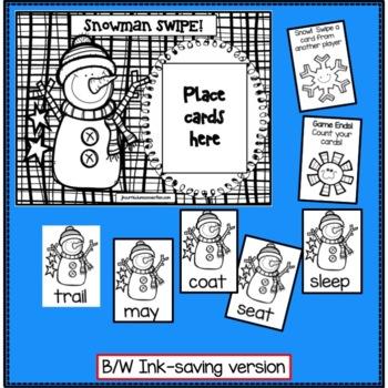 Winter Literacy Game - Vowel Digraph Words: Snowman SWIPE {EDITABLE}