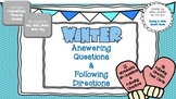 Winter WH Questions & Following Directions (12 Worksheets, 96 Task Cards, Game)