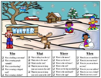 Winter WH Questions Picture Scenes-FREEBIE