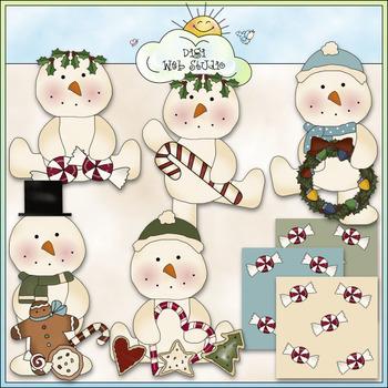 Winter Wally Clip Art - Christmas Snowman Clip Art - CU Colored Clip Art