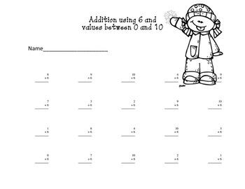 Winter Warm Up Math Facts 0-9