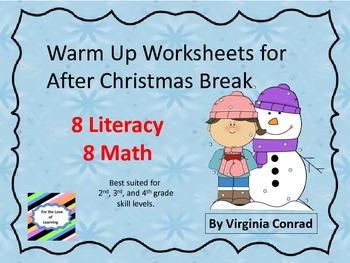 Winter Warm Up Worksheets for Elementary Classrooms