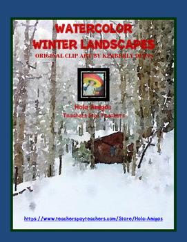 Watercolor Winter Landscapes Clip Art