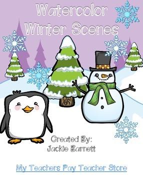 Winter Watercolor Scenes *FREE*