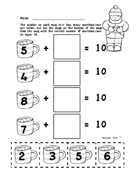 Dollar Deals Making 10 Winter Game First Grade Math | Kindergarten Math
