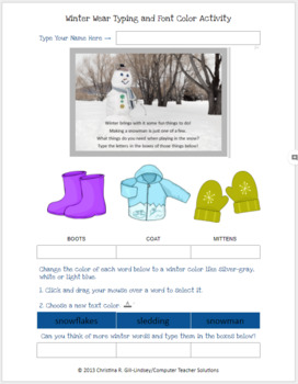 Winter Wear - MS Word Typing & Font Color Activity for Grades K-2