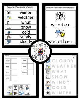 Winter Weather Adapted Book Adapted Writing and Literacy Center Bundle
