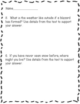 Winter Weather: Snow and Blizzaards Reading Comprehension Activity