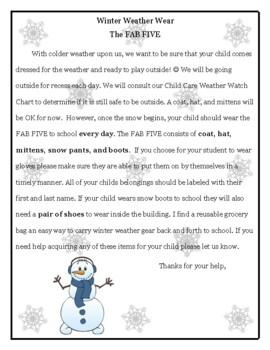 Winter Weather Wear Reminder Letter