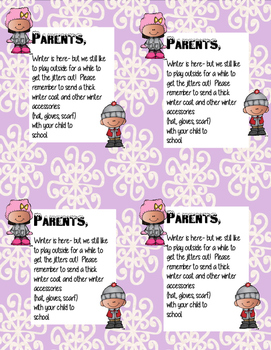 Winter Weather- a note to parents