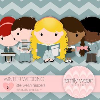 Winter Wedding - Little Readers Clip Art