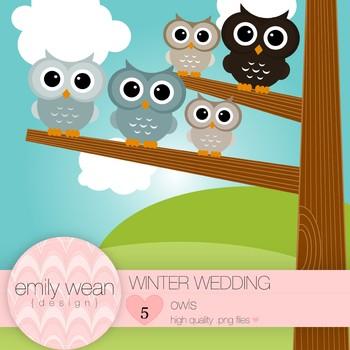 Winter Wedding - Owl Clip Art