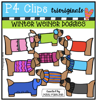 Winter Weiner Doggies (P4 Clips Trioriginals) WINTER CLIPART