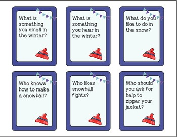 Winter Wh Question Task Cards - Kindergarten {common core aligned}