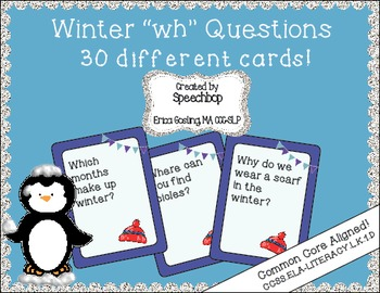 Winter Wh Question Task Cards - Kindergarten {common core
