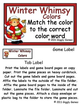 Winter Whimsy Colors File Folder Game