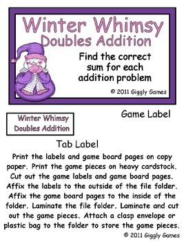 Winter Whimsy Doubles Addition File Folder Game