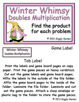 Winter Whimsy Doubles Multiplication File Folder Game