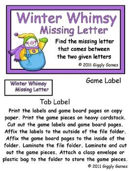 Winter Whimsy Missing Letter File Folder Game