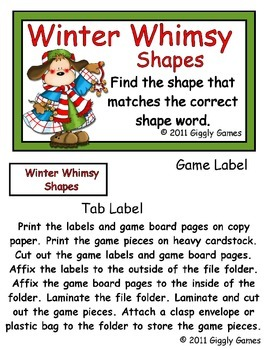 Winter Whimsy Shapes File Folder Game