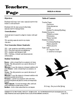 Wildlife in Winter - A reading resource with some student activities