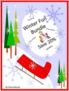 Winter Math Centers, Winter Literacy Centers, Winter Cut and Paste, Bundle