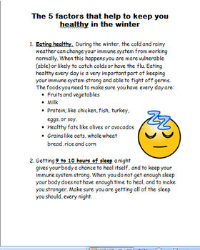 """Winter- """"Winter Health Activity"""" Mini lesson, 2 activities, coloring pages"""