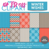 Winter Wishes (Blue) Digital Papers