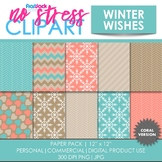 Winter Wishes (Coral) Digital Papers