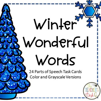 Winter Wonderful Words Task Cards for Parts of Speech