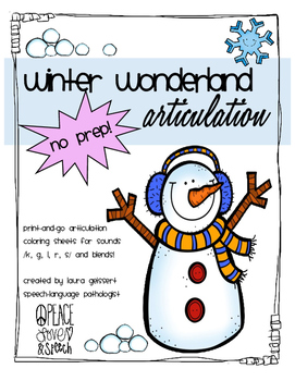 Winter Wonderland Articulation Coloring Sheets