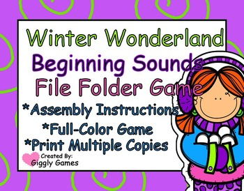 Winter Wonderland Beginning Sounds File Folder Game
