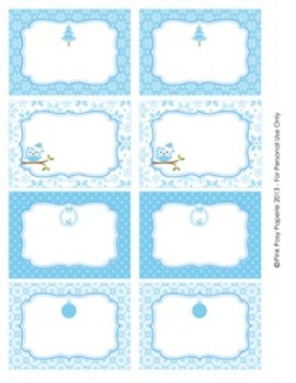 Winter Wonderland Blue Christmas Classroom Bin Tag Labels