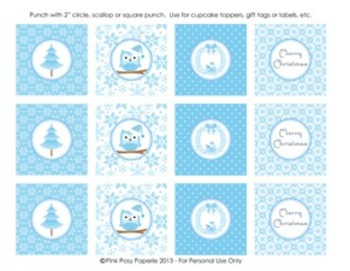 Winter Wonderland Blue Christmas Classroom Party Cupcake Toppers
