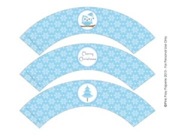 Winter Wonderland Blue Christmas Classroom Party Cupcake Wrappers