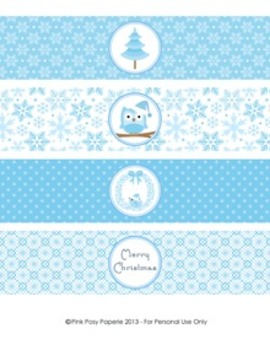 Winter Wonderland Blue Christmas Classroom Party Water Bottle Wrappers