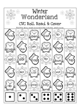 Winter Wonderland CVC Roll, Read, and Cover