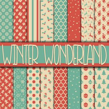 Winter Wonderland Christmas Digital Paper Pack - 16 Papers - 12x12in
