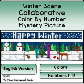Color By Number COLLABORATIVE Poster (English) Winter Wonderland