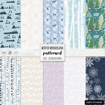 Winter Wonderland Digital Paper, Snowy Weather, Forest, Frosty Backgrounds