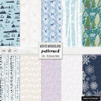 Winter Wonderland Digital Paper, Snowy Weather, Forest, Fr
