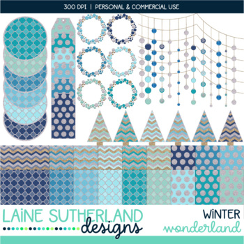 Winter Wonderland Digital Paper and Accents Set